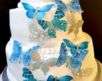 15 Silver and Blue Edible Butterflies Cake & Cupcake Toppers,