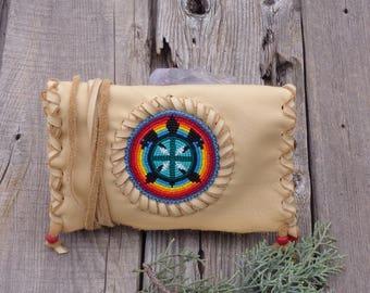 Beaded turtle totem clutch , turtle totem leather bag , handmade beaded turtle ceremony bag , shamans bag , beaded gift bag