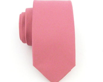 Mens Tie Dutsy Pink Skinny Necktie With *FREE* Matching Pocket Square Set