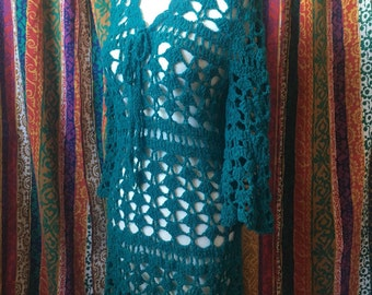 Vintage 60s teal crochet bell sleeve dress blue green turquoise