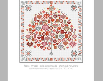 CROSS STITCH KIT Happy Christmas Tree by Riverdrift House