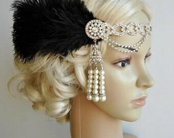 The Great Gatsby 20's rhinestone pearls flapper headband,20's flapper Headpiece headband, Bridal Headband, Crystal Ribbon Headband Black
