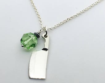 Female Chef Cleaver Necklace - Lady Chef Gift  - Culinary Jewelry - Knife - Culinary School Graduation Gift - August Birthstone Charm
