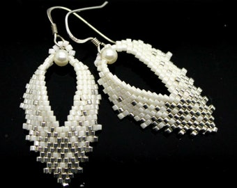 Russian Leaf Earrings - Pearl and Silver