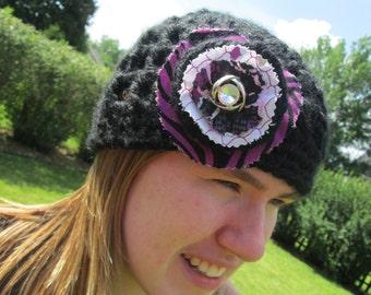 Crochet Beanie with Fabric Flower
