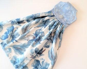 Hanging Kitchen Towels with Button, Blue Towel, Hanging Towel, Blue Floral, Button Top, Blue Kitchen Decor, Tea Towel, Hand Towel, Oven Door