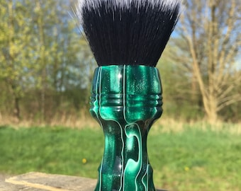 Custom Handcrafted Rain Forest Resin Shaving Brush. Shown with a 24mm Black Hammer synthetic Badger knot.