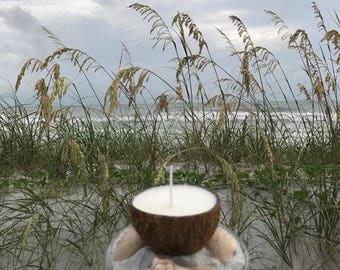Beach Wedding, Coconut Soy Candle, Glass Plate, Sand, Sea Shells, Coconut Centerpiece, Luah themed party, Great Gift