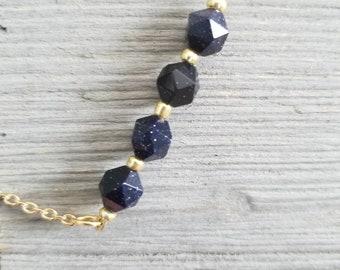 Blue Goldstone and Gold Bracelet