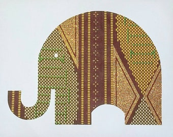Elephant silhouette in gold, green and brown African print fabric, cut paper art - kids bedroom / nursery art