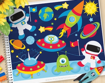 Space Clipart, Outer Space Adventures, Galaxy, Astronaut, Space Ship, Aliens, Planets, Commercial Use, Vector clip art, SVG Cut Files
