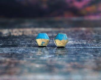 hexagon earrings , hexagon studs , hexagonal earrings , geometric blue studs