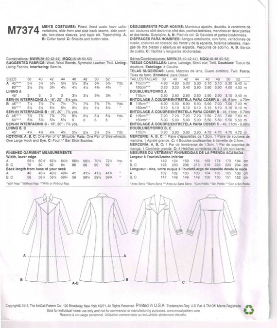 Sewing Pattern Men Duster Coat Fitted Lined Long Redingote Jacket