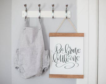 "Be Brave, Little One // 9"" x 12"" Canvas Banner - Handlettered, Nursery, Gender Neutral, Baby Gift, New Mom, Boho Baby, Woodland, Brave Sign"