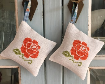 Handmade Set of Two Orange Rose Lavender Sachets Mothersday Gift Liberty of London Fabric