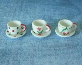 3 tea set Miniature tea set Miniature kitchen utensils/ Dollhouse miniatures/ Tea set/ children tea cup/ mini tea cup