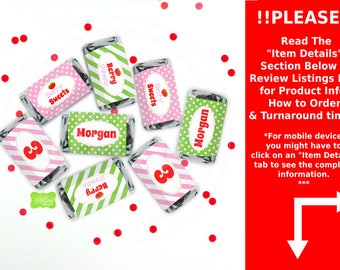 Strawberry Chocolate Bar Wrappers -  Strawberry Candy Bar Wrappers - Strawberry Party Favors - Strawberry Candy Labels - Digital & Printed
