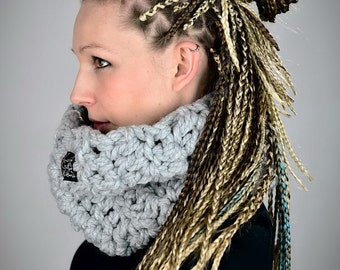 Fatty Snood Melange 01 Light Grey / handmade • snood • loop • scarf • grey • warm • wool • woolen • skate • boho • hippie • lifestyle /