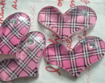 SALE Pink Plaid heart with rhinestone cabochons Set 4pcs
