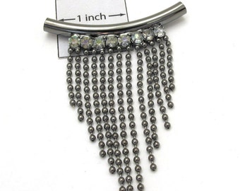 Gunmetal Curved  50mm x 65mm Centerpiece with Crystals and Dangling Chains Pendant,  1092-15