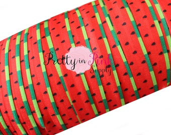 "Watermelon Print Fold Over Elastic- FOE-You Choose Yards-Fold over Print Elastic- Elastic by the Yard- 5/8"" Fold Over Elastic"