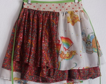 Wrap skirt multi-tailles multi-turn 4 wheel patchwork metres wrapped around the waist, fits all