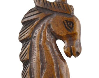 Carved-35x26mm Horse-Dark Brown-Quantity 1