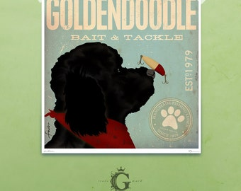 Goldendoodle bait and tackle lure company graphic illustration giclee archival signed print by stephen fowler Pick A Size