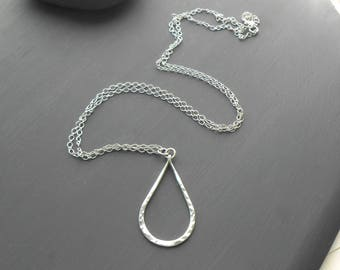 Long Sterling Silver Necklace, Hammered Teardrop Pendant