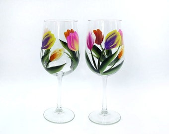 Hand Painted multi colored Tulip Wine Glasses Set of 2 tulips, bridesmaid gift, teacher gift, wedding gift