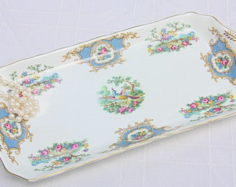Vintage Coalport Bone China Cake Tray, Broadway Blue, England