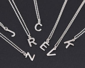 Sterling silver initial necklace, Initial necklace, Sterling silver necklace, alphabet necklace, Letter necklace, Initial pendant necklace