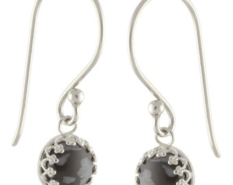 925 Sterling Silver Natural 8mm Cabochon Snow Obsidian Gemstones Crown Bezel Set Hook Earrings