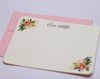 Pink floral flat note cards stationery