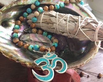 Adjustable 54 Bead Handknotted Picture Jasper, Ocean Jade + Om Spiritual Junkies Yoga and Meditation Mini Mala (6 mm)