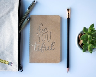 Custom Embossed Moleskine Pocket Notebook, Personalized Journal, Cahier, Sketchbook, Kraft Notebook, Quote, Be Yourself, Holiday Gift
