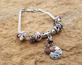 Silver and Copper Fish Charm Bracelet, Sand Dollar Charm, Sea Life Jewelry, Scuba Diver Gift