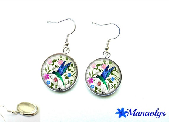Hummingbird, birds and flowers, exotic, 1439 glass cabochons earrings