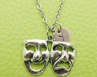 Theater Mask Tragedy and Comedy Initial Monogram Necklace Stainless steel chain