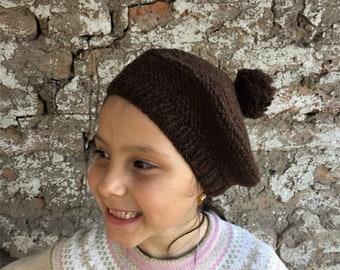 Alpaca beret - fair trade girls pom pom tam handknit in brown chilean alpaca wool - Free Shipping on orders over 65 dollars!