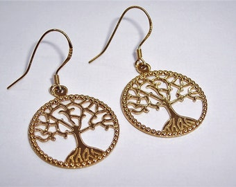 18ct Gold Plated Tree of Life Earrings.
