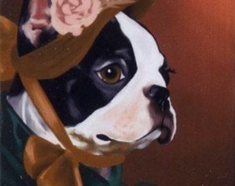 American Lady - Boston Terrier dog art magnet, boston terrier gift, boston terrier art, dog art magnet