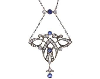 Sapphire and Diamond Belle Époque Pendant
