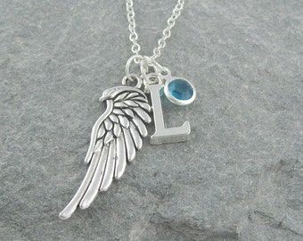 Angel wing necklace, silver chain, personalized jewelry, initial necklace, swarovski birthstone, memorial jewelry, birthstone necklace