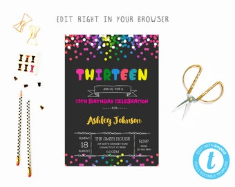 13th birthday invite etsy 13 birthday tem try before you buy instant download edit yourself invitation filmwisefo Choice Image