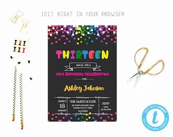 13th birthday invite etsy 13 birthday filmwisefo