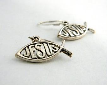 Jesus Fish Earrings With Word Inside Silver Color Ichthys Earrings