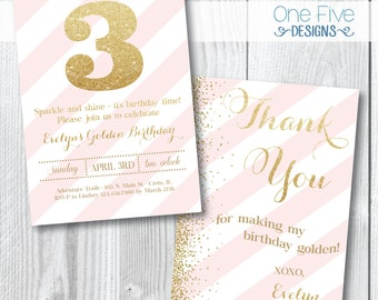 ANY AGE - Sparkle & Shine - Gold/Pink Party Invitation with FREE Thank You Card - Printable (5x7)