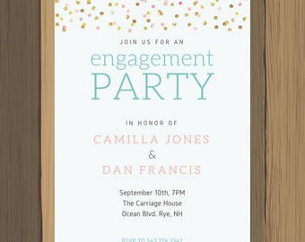 5x7 Custom Wedding Engagement Party Invitation