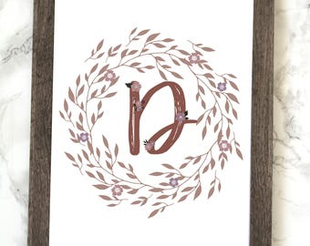 Monogram Letter D Printable, Floral Monogram Letter D Printable, Letter D Wall Art, Letter D Printable, Monogram Printable, Initial Print